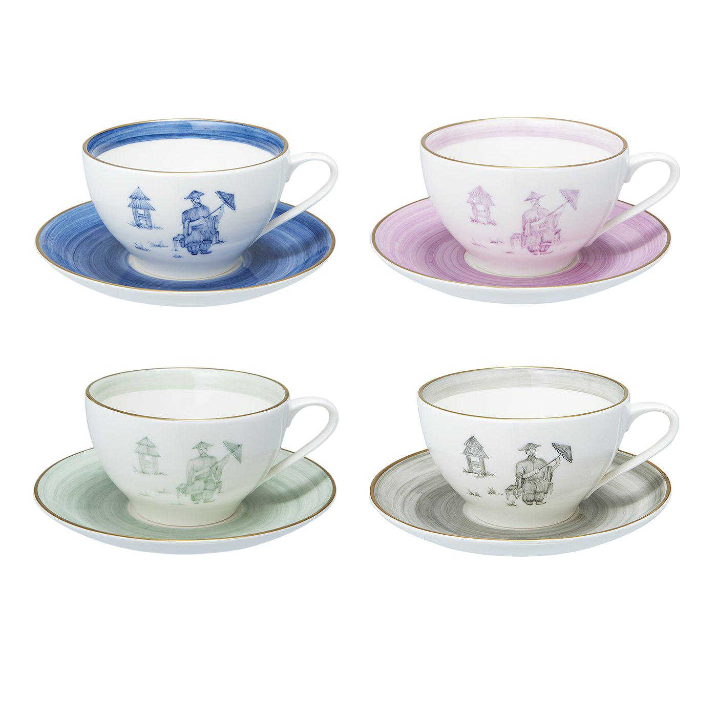 Chinoiserie Set of Four Porcelain Cups Hand Painted Sofina Boutique Kitzbuehel