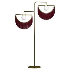 Wink Gold-Plated Floor Lamp Postmodernist Style with Bordeaux Fringes