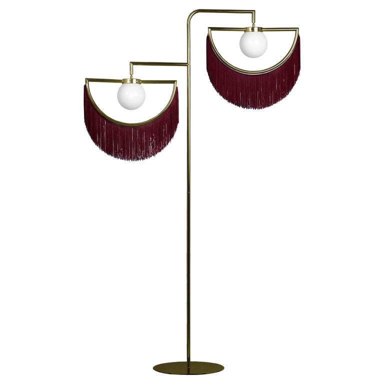 Wink Gold-Plated Floor Lamp Postmodernist Style with Bordeaux Fringes For Sale