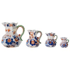 FOUR Early Mason's Ironstone Jugs or Pitchers in Japan Basket Pattern Circa 1820