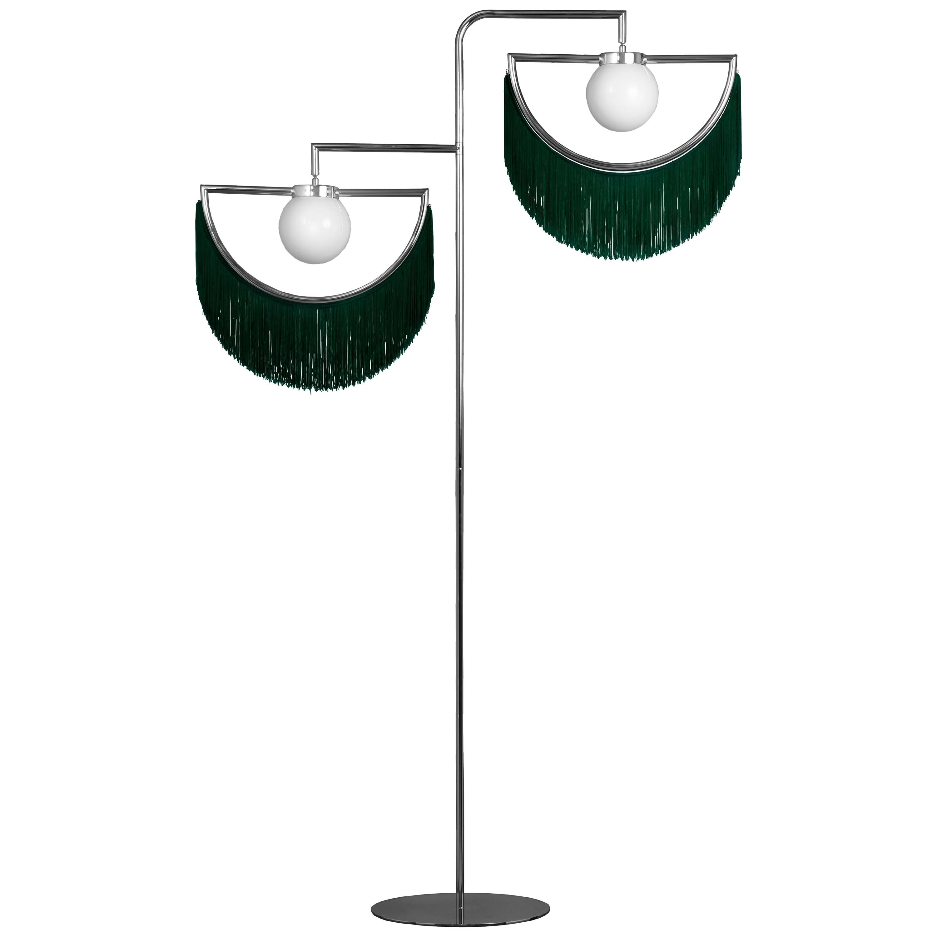 Wink Gold-Plated Floor Lamp Postmodernist Style with Green Fringes