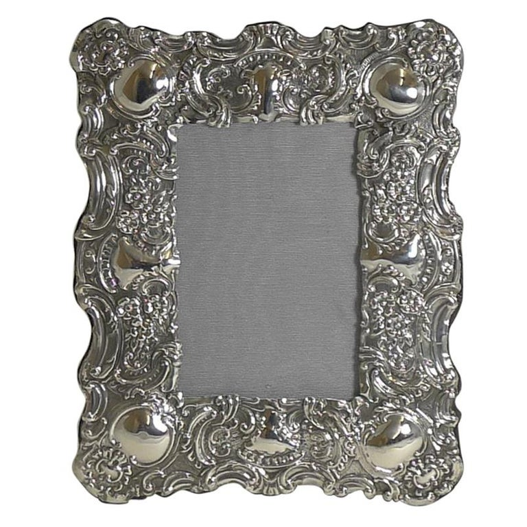 Stunning Antique English Sterling Silver Photograph Frame, 1902 For Sale