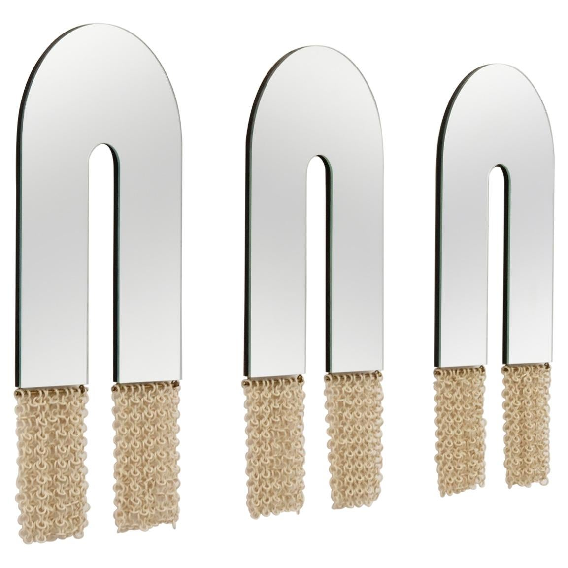 Contemporary Ceramic Chainmail Arched Mirrors Set in Ivory