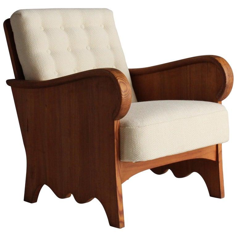 "Axel Einar Hjorth, Rare ""Lovö"" Lounge Chair, Pine, White Fabric, NK, 1930s For Sale"