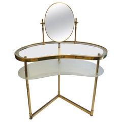 Italian Brass and Glass Mid Century Dressing Table