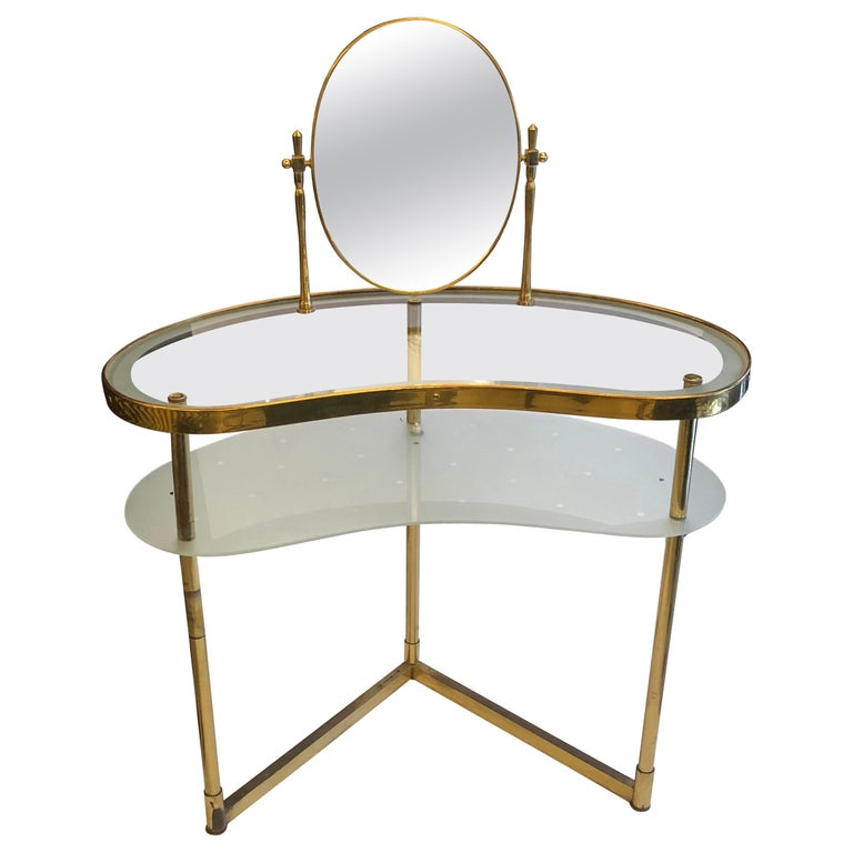 Italian Brass and Glass Mid Century Dressing Table For Sale