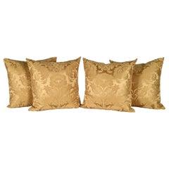 Antique Pillows in Golden Silk Damask