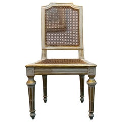 Neoclassical chair Walnut Wood Lacquered in Ivory and Gold