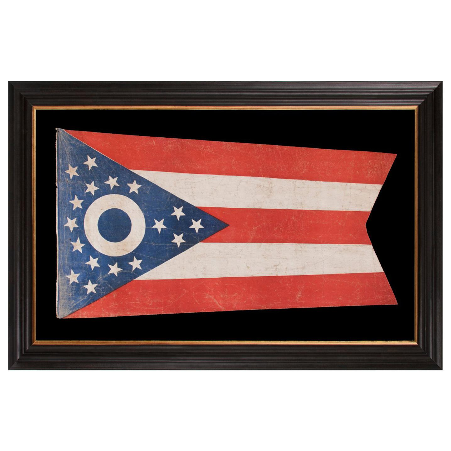 Early Ohio State Flag with a Blue Disc Inside the Buckeye