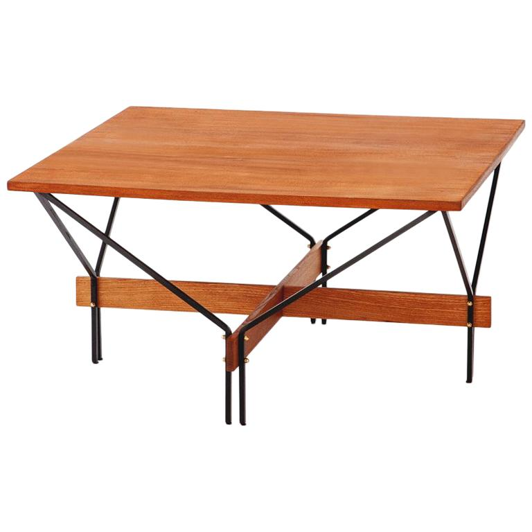 Italian Modern Teak And Iron Square Coffee Table With Iron Frame 1950s