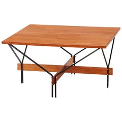 Italian Modern Teak and Iron Square Coffee Table with Iron Frame, 1950s