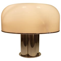 Large Table Lamp in Chrome and White Acrylic from Harvey Guzzini, Italy, 1968