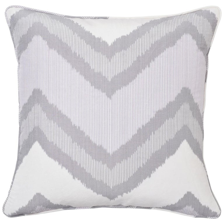 Schumacher Chevron Ikat Lilac Two-Sided Linen Pillow For Sale