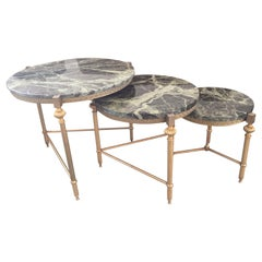 20th Century, French Gilded Brass and Marble Nesting Table, 1950s