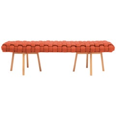 "Contemporary Wood Bench, Handwoven Upholstery, the ""Trama"", Orange"