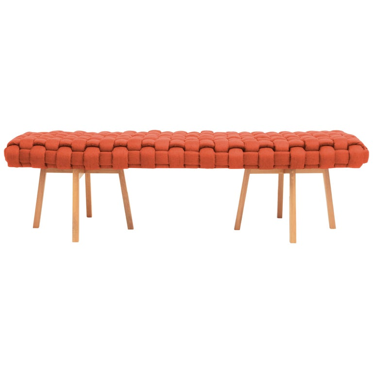 "Contemporary Wood Bench, Handwoven Upholstery, the ""Trama"", Orange For Sale"