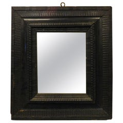 16th Century Very Antique Mirror with Black Lacquered Frame, Epoch, 1500