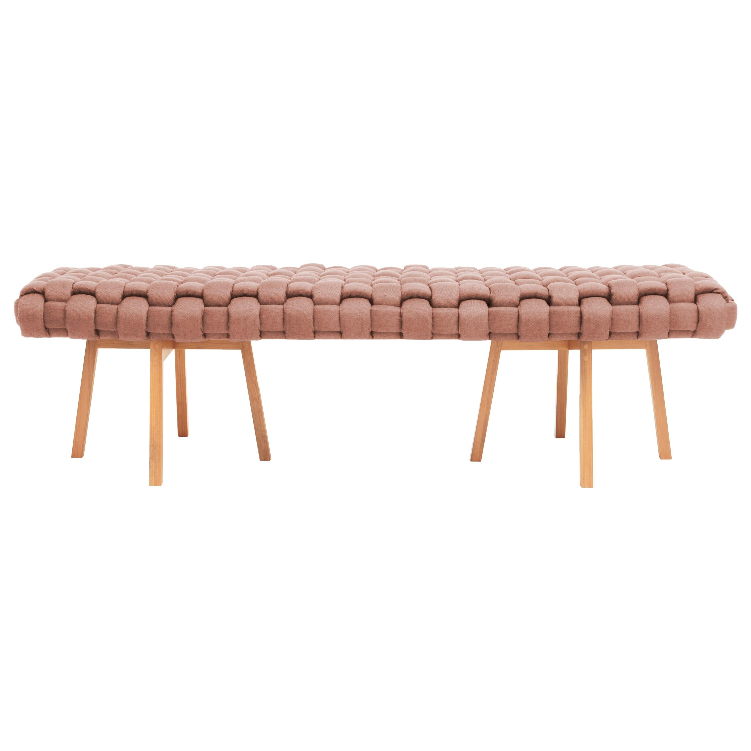 """Contemporary Wood Bench, Handwoven Upholstery, the """"Trama"""", Rose"""