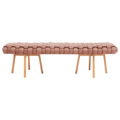 "Contemporary Wood Bench, Handwoven Upholstery, the ""Trama"", Rose"