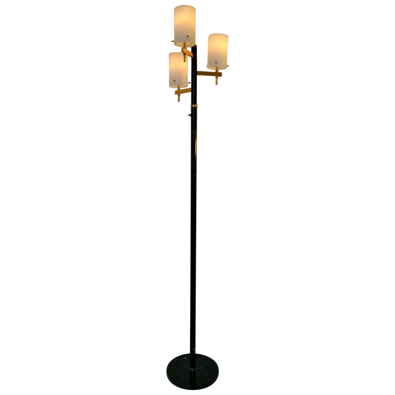 Floor Lamp with Three Glass Shades Stilnovo 1950s Italy