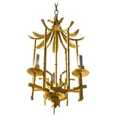 Stylish Hollywood Regency Pagoda Tole and Faux Bamboo Chandelier Pendant