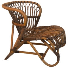 Rattan Lounge Chair in the Style of Viggo Boesen, 1940s