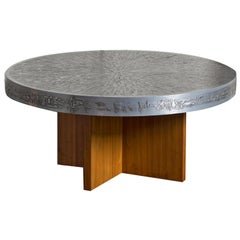 1960s Belgian Round Coffee Table with Aluminum Embossed Graphic Top