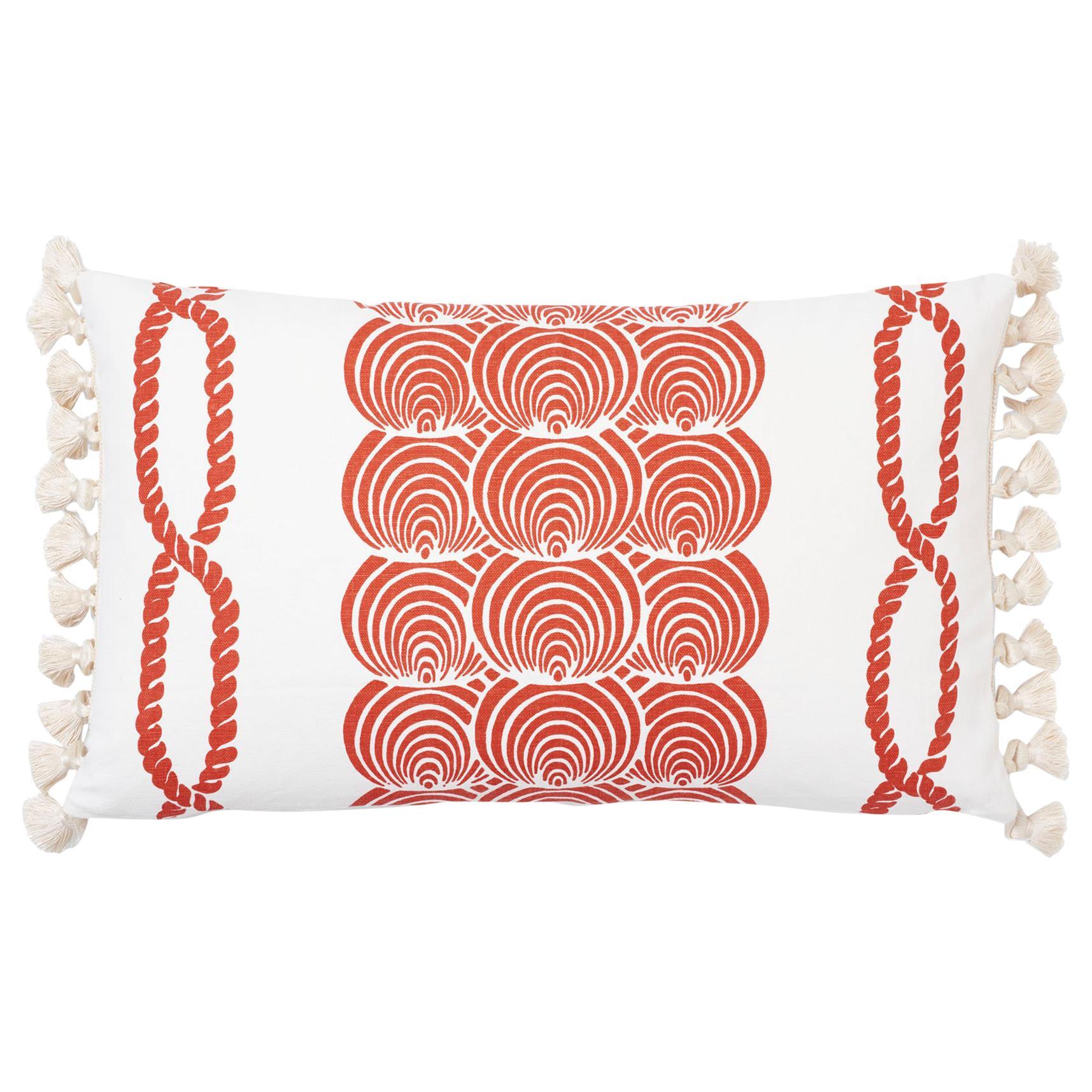 Schumacher Coralline Red Two-Sided Lumbar Linen Cotton Pillow