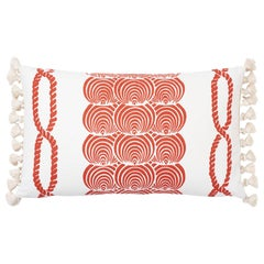 Schumacher Coralline Red Two-Sided Lumbar Linen Cotton Pillow