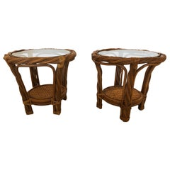 Perfect for the Hamptons Pair of Round Rattan Bamboo and Wicker Side End Tables