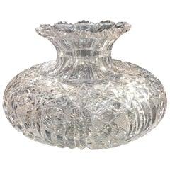 Large American Brilliant Cut Glass Rose Vase Bowl