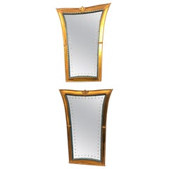 Unique Pair of Metal and Wood Italian Art Wall Mirrors Produced in the 1940s