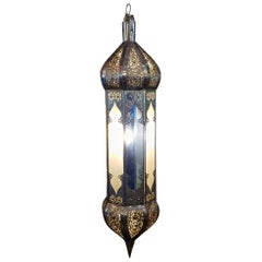 Balouta Handmade Moroccan Lantern, Yellow, Blue and Frosty White Glass