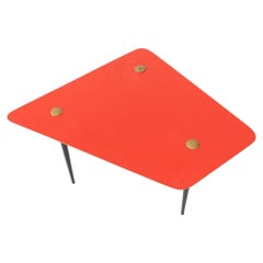 Italian Mid-Century Modern Soft Red and Brass Coffee Table, 1950s