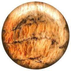 Amber Carved Alabaster Light Fixture