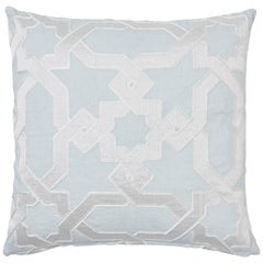 Schumacher Cordoba Embroidery Mist Two-Sided Linen Pillow