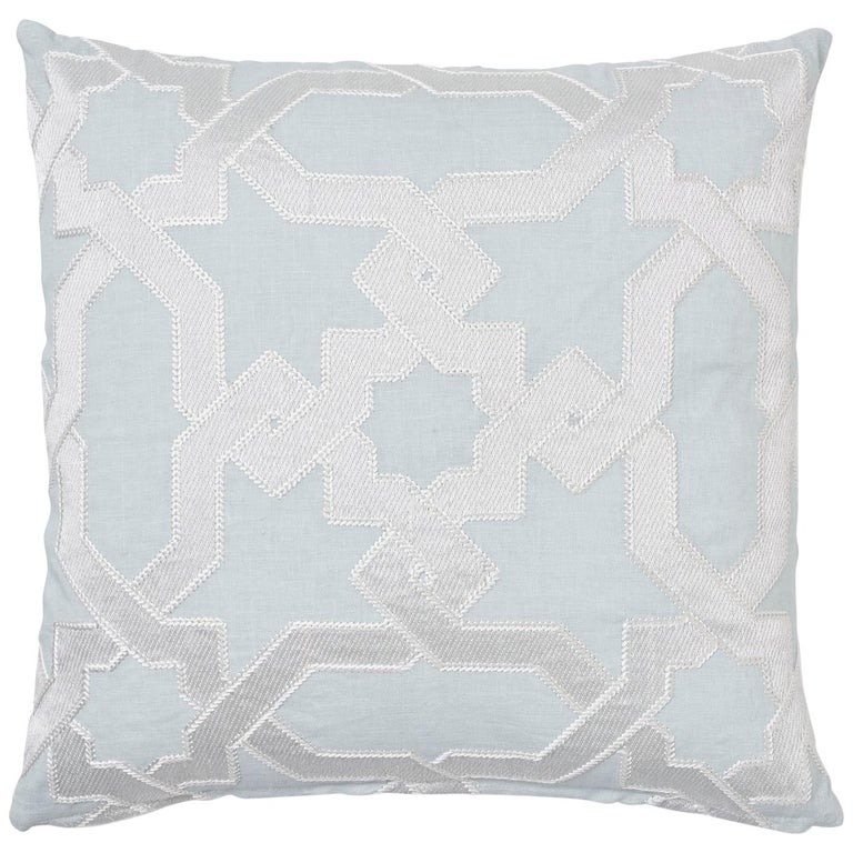 Schumacher Cordoba Embroidery Mist Two-Sided Linen Pillow For Sale
