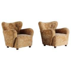 Flemming Lassen 'Attribution' Lounge Chairs, Beech, Sheepskin, Denmark, 1940s