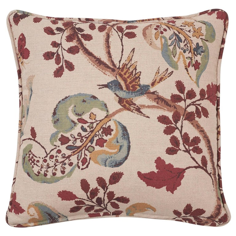 Schumacher Fox Hollow Document Natural Two-Sided Linen Cotton Pillow For Sale
