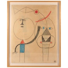 Albert Chubac, Painting, Mixed-Media on Paper, Signed, circa 1970