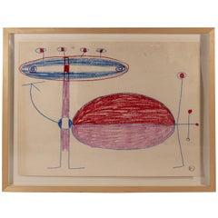 Albert Chubac, Painting, Mixed-Media on Paper, Signed, circa 1970