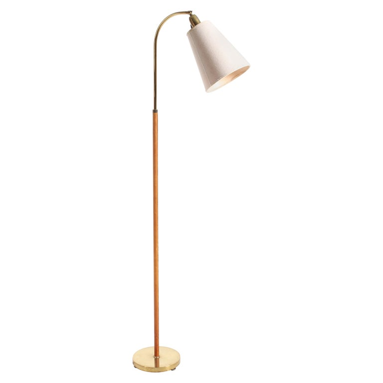 Floor Lamp in Brass and Leather For Sale