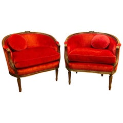 Pair of Belle Époque French Louis XV Style Red Velvet Bergeres Chairs Armchairs