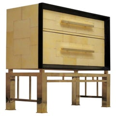 Midcentury Vitrified Goatskin and Brass Italian Chests of Drawers, 1950