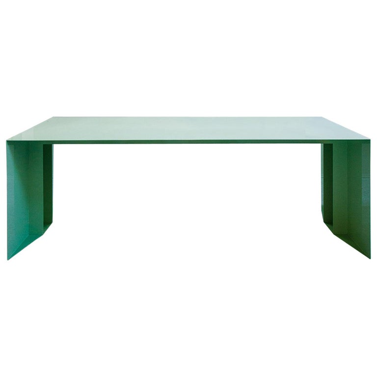 21st Century S3 Laquered Iron Dining Table / Desk Green Blue Yellow Silver Pink For Sale