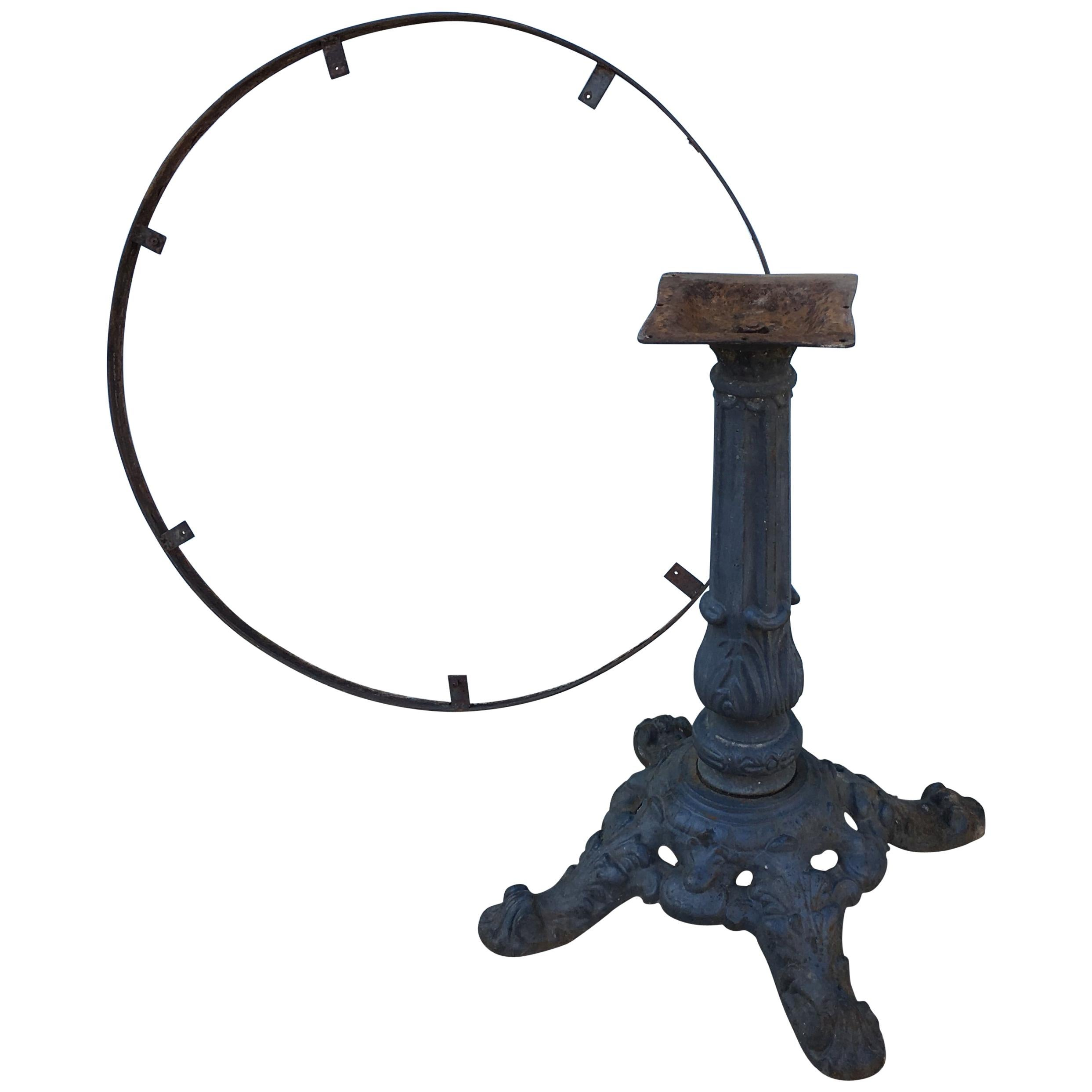 French Cast Iron Bistro Table Base with Top Surround, circa 1900