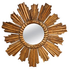 Early 20th Century French Carved Giltwood Sunburst Mirror