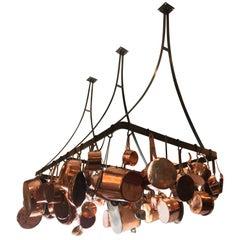 Kitchen Ceiling Mounted Pot Rack with Antique Copper Pots Pans Cookware