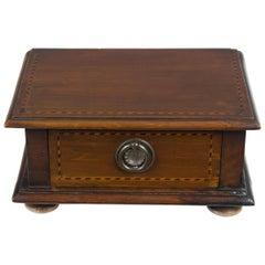 Converted Edwardian Inlaid Mahogany Jewelry Trinket Box