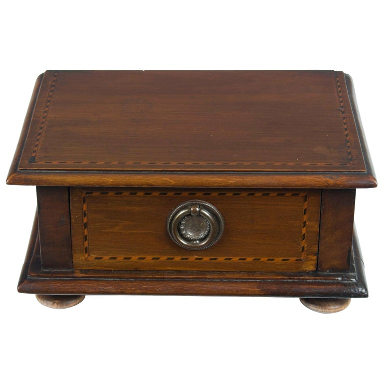 Converted Edwardian Inlaid Mahogany Jewelry Trinket Box For Sale